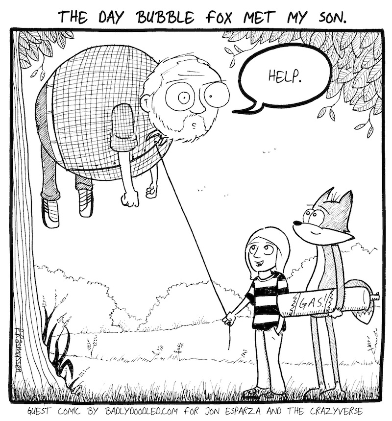 BIG PETE GETS BIGGER!!!  A BUBBLE FOX GUEST COMIC BY PETER RASMUSSEN