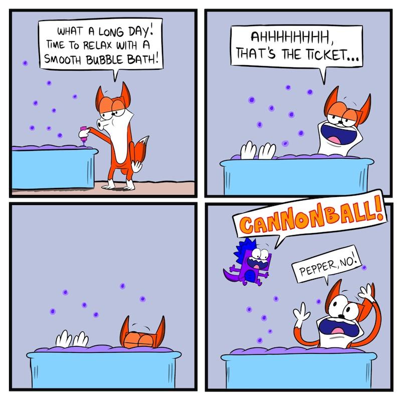 SPLASH DOWN!!!  A BUBBLE FOX GUEST COMIC BY BEN FISCHER